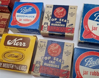 9 Vintage Boxes of Canning Lids and Rubbers