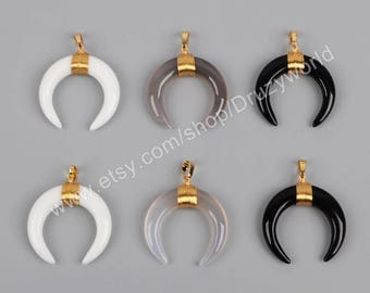 Wholesale Gold Plated Wrap Black Gray White Glass Tribal Ox Double Horn Pendant Polished Glass Horns Crescent Moon Pendant Jewelry G1212