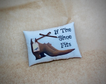 Primitive Witch Shoe mini pillow - If the Shoe Fits
