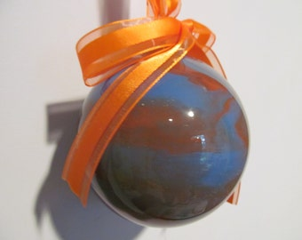Blue and Orange Painted Glass Ornament