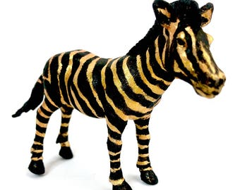 Original Mini Zebra Statuette - Hand-painted with Black and Gold Acrylic Paint - Upcycled Animal Toy