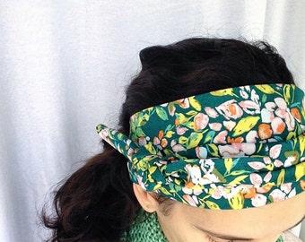 Head scarves, Hair scarf, floral headband, Hair Scarves, Head scarves for women, boho head wraps, womens head scarf, green head wrap, chemo