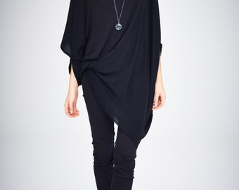 Twisted Black Top/ Oversized Asymmetrical Top/ Loose Black Top/ Casual Blouse by Arya Sense/ TEDJ14BL