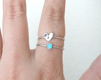 Sterling Silver Initial Ring, Sterling Silver Opal Ring, Custom Jewelry, Silver Stacking Ring, Set of 2 Rings, Custom SIlver Heart Ring