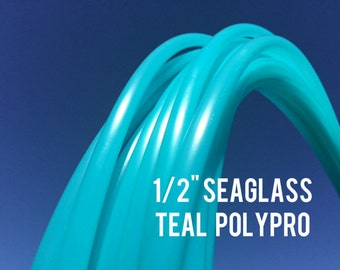 "Seaglass Teal 1/2"" Polypro Dance & Exercise Hula Hoop COLLAPSIBLE push button or minis - turquoise blue green"