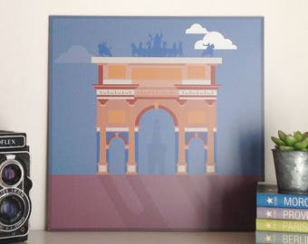 Arco della Pace, Milan, illustrated by Milan Icons. Square print on aluminium, 30 x 30 cm