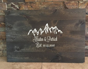 Rustic Hand Painted Pallet Wooden Guestbook Alternative- Mountains - Unique Wood Guest Book
