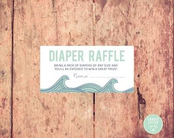Printable Diaper Raffle Cards- Waves theme - Ocean theme diaper raffle - LOVELY LITTLE PARTY