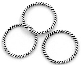 "Antique Silver, Twisted, Closed, Soldered Jump Rings, Connector, 18 mm (3/4"" diam.), 10 count (JRC-18-AS)"