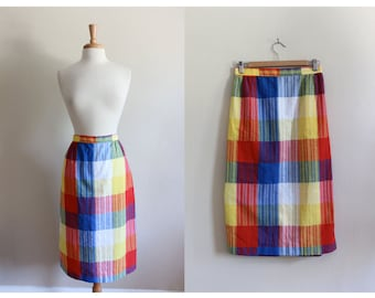 Vintage 1970s Primary Colors Plaid Check Pencil Skirt