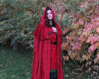 Hooded Cloak - Wolf & Raven - Red Velour - Adult Cloak - Medieval Cloak - Viking Cloak - Renaissance Cloak - Ren Faire - Medieval Cosplay