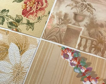 Pack of (4) -  Tan/Cream Floral Vintage Wallpaper Pack, 11x14 size
