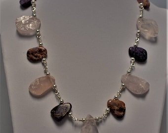 Ametrine, Charoite and Sterling Silver Bib Necklace