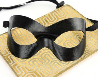 Black Masquerade Mask, Leather Domino Mask, Handmade Leather Mask, Black Tie Event, Elegant Mask, Masked Ball, Formal Wear Mask