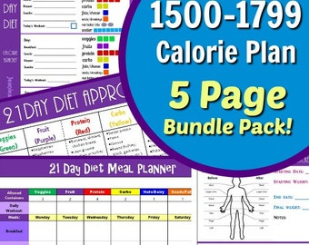 21 Day Portion Control 1500-1799 Calorie Diet Plan 5 Page PDF BUNDLE: Meal Planner, Container Tally Sheets, Results Tracker, & Food List!
