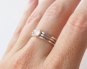 Dainty Rings Stacking Rings -  Stackable Rings for Women - Minimalist Ring - Gemstone Ring - Sterling Silver Rings Christmas Gift for Her