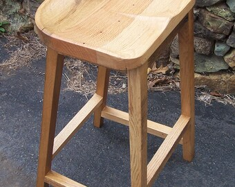 FREE SHIPPING! The Modern Farmhouse - Sculpted Contoured Scooped 'Tractor Seat' Bar Stool from Reclaimed Wood