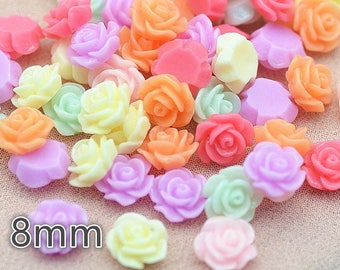 10 Flat Back Resin Roses 8mm Flowers Cabochons - Card Making Embellishments Crafts Jewellery Making
