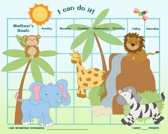 PRINTABLE Personalized Incentive Chart for Children - Jungle - Jpeg or PDF