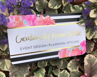 Gold Foil Business Cards with Silk Laminate, Event Planner, Wedding Planner, Floral Business Cards, Florist, Stripes, Black and White