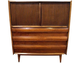Mid-Century Danish Modern Lane First Edition Shark Fin Walnut Tall Chest Dresser