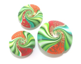 Swirl lentil beads with tiny gold dots, greens, red and orange Polymer Clay beads, elegant beads in red, orange and greens, Set of 3