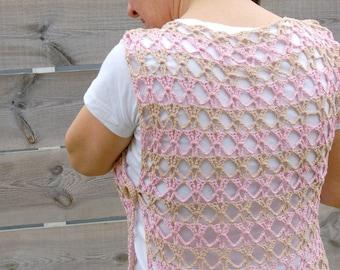 Top sans manche ajouré coton rose beige