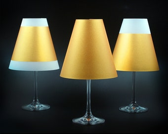 POETRY LIGHT · 3 Golden lampshades for wine glasses with tea light · from paper to plug together