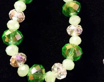 Green, White and Clear glass Necklace/Bracelet set