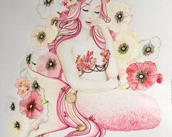 Pink Poppies Mermaid Watercolor Painting Original Mermaid Art