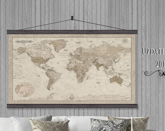 TV Cover.  2017 Modern  Map. Vintage Looking World Map. 40x60 Hanging or as a Pull Down Map.