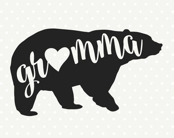Gramma Bear SVG, Bear Family svg file, Bear svg file, Commercial cut file, SVG cutting file, SVG die cut file, Vinyl dxf file, Iron on file