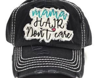 Mama Hair Don't Care Vintage Trucker Hat - Black