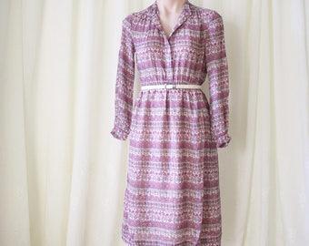 Bohemian Floral Japanese Vintage Shirt Dress, XS Small 4189