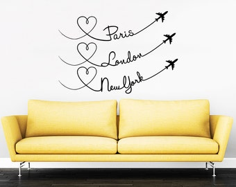Paris London New York Quote Travel Wall Decal Vinyl Stickers Decals Home Decor Love Planes Decals Vinyl Lettering Wall Decal Bedroom ZX251