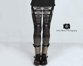 Cool Printed Leggings Black And White, Train Bridge Print Leggings, Yoga Tights Leggings, Black And White Train Bridge Art Leggings