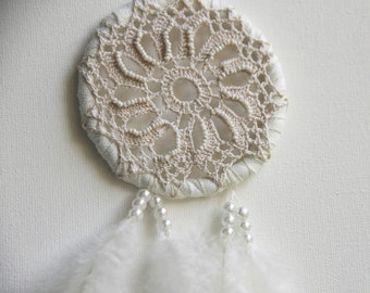 White magic dream catcher, white dotted feathers, boho room nursery
