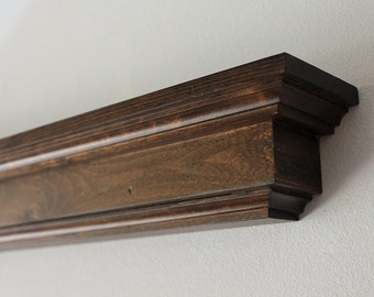 Wood Wall Shelf- Dark Stained Floating Display Shelf or Fireplace Mantel- Lengths of 36, 48, 60, or 72 Inch.