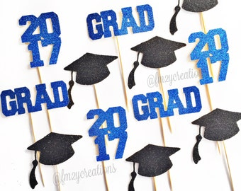 2018 Cupcake Toppers Graduation | Graduation Party Cupcake Toppers | Graduation Centerpieces Class of 2018 | Graduation Cap Cupcake Toppers