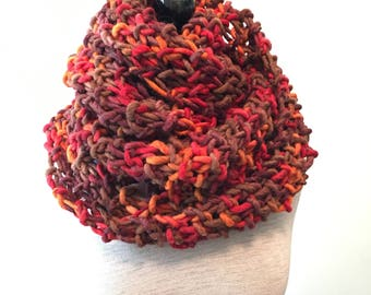 Chunky Brown Red & Orange Scarf- Infinity Scarf - Huge Scarf - Chunky Scarf - Fall Scarf - Figure 8 Scarf - Foliage - Fall- Brown orange red