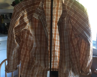 Haymaker medium light cover jacket in deep tan plaid...classic