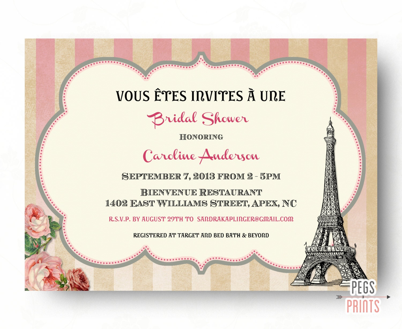 Paris theme bridal shower invitation printable paris bridal zoom stopboris Image collections