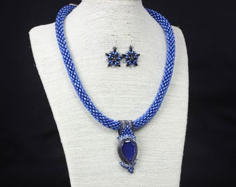 Blue Boa Necklace