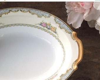 "ON SALE Vintage Noritake Martelle 10"" Oval Vegetable Bowl Weddings Tea Parties Cottage Style Serving Pieces Bridal China"