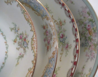 Vintage Mismatched China Soup Bowls, Salad Bowls for Farmhouse, Shabby, Rustic, Wedding, Bridal Luncheon, Wedding China - Set of 4