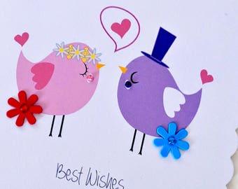 Handmade Birdy Love Wedding Card - Celebration / Wedding cards