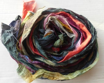 10 hand dyed silk ribbons approx 1m each mix of texture/colour - FR42