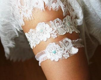 Bridal Garter Wedding Garter Lace Garter Flower Garter - Something Blue Garter Set  - Vintage Inspired Floral Garter Wedding Gift For Bride