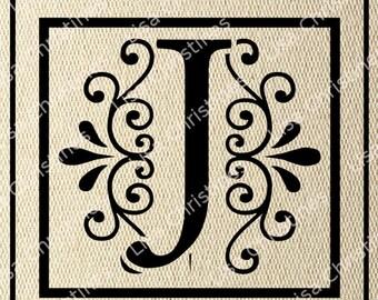 Ornamental Monogram Letter J Digital Image Instant Download 158
