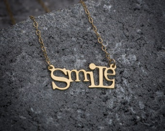 Script necklace, statement necklace, smile necklace, smile word necklace, goldfilled necklace, gift under 50, girl necklace, gift for her.